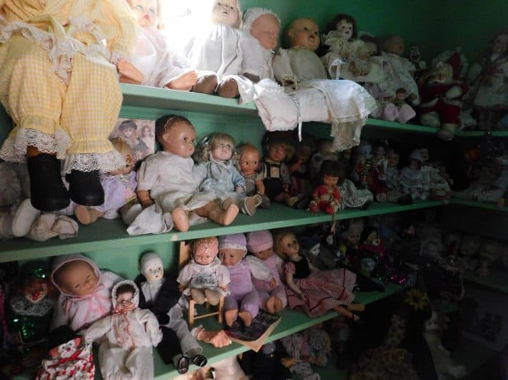 An entire closet full of age-old creepy dolls in the Burn Brae Mansion.