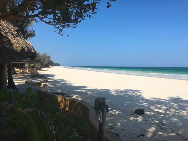 Diani Beach, Kenya, with pristine white sand.