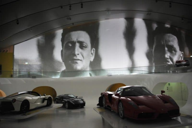 Enzo Ferrari, the legendary auto racer and car genius who created the brand.