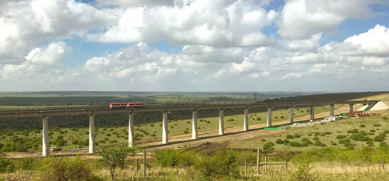 The line for the new Madaraka express follows generally the same route. By December 2016 it was in its final stages of construction.