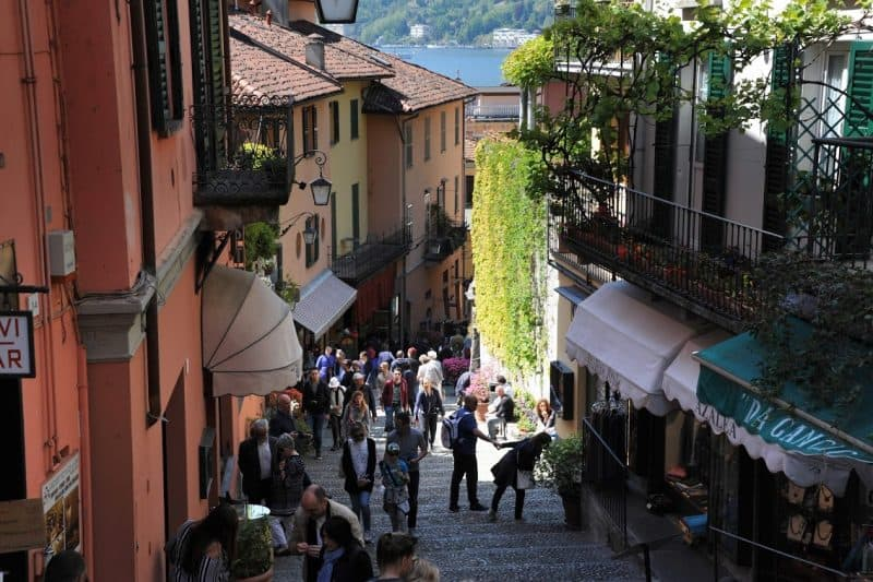 Narrow streets lead to the lake Como.