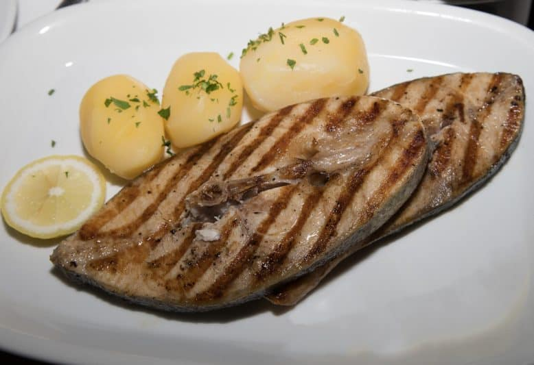 Atlantic swordfish is always served with potatoes, all over the Azores.