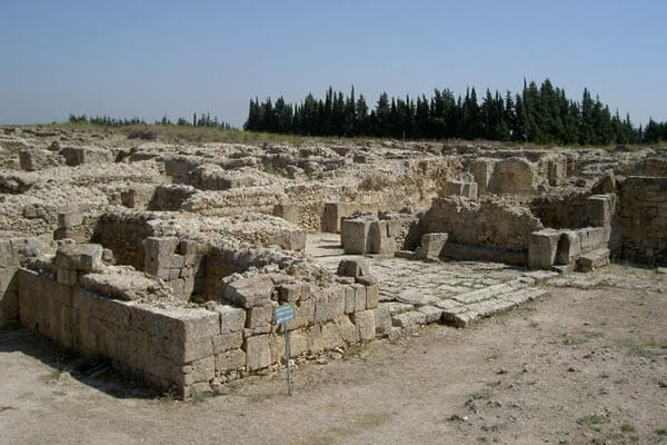 The ruins of the city and streets of Ugarit, Syria.