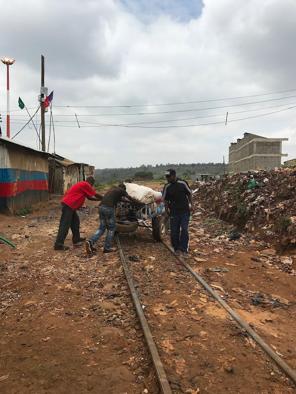 The Lunatic Line makes its way through Kibera, the slum of Nairobi