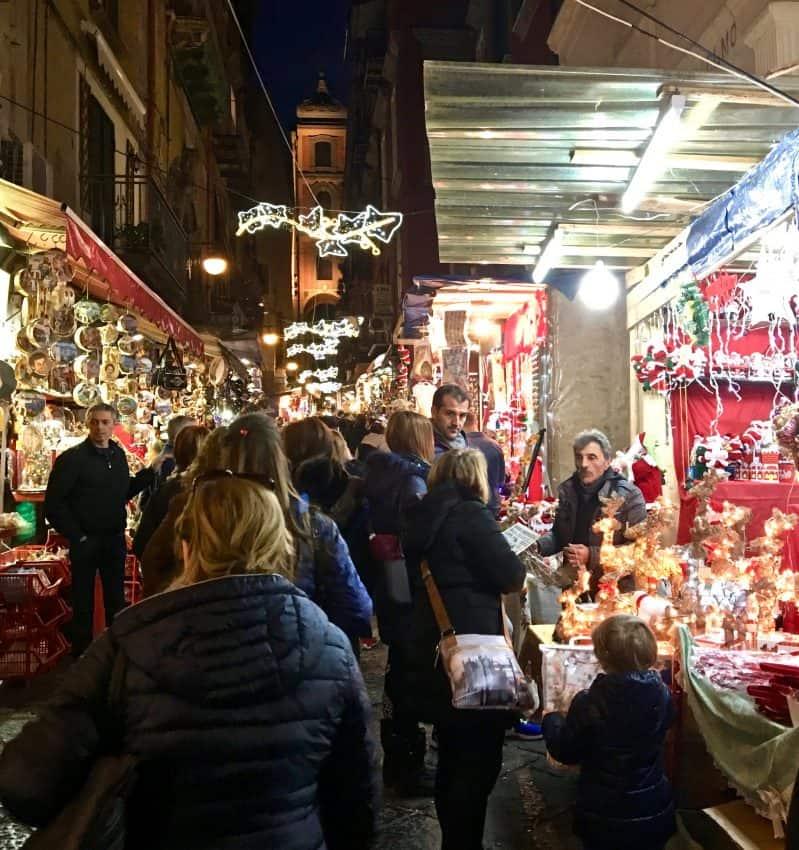 Via San Gregorio Armeno, Naples, Italy, at night, where the Presepe can be found. Suzanne Ball photos.