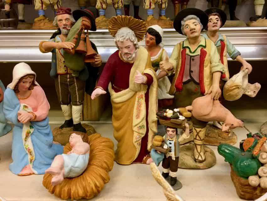 Manger scene with local people. Baby Jesus doesn't get seen until the holiday.