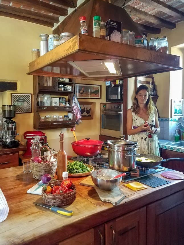 Alina prepares for Her Slow Cooking School at Il Fontanaro Farms in Umbria, Italy
