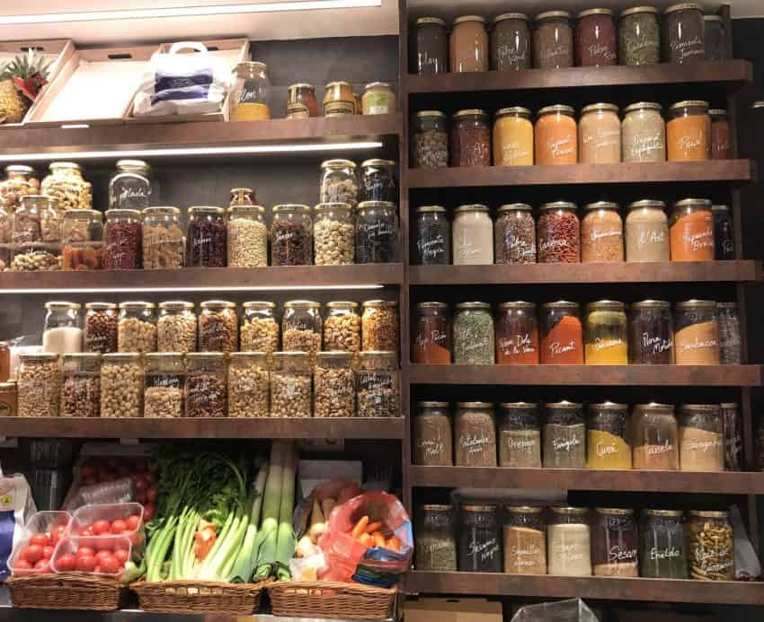 An array of spices in the Balco del Mediterrani, one of Tarragona's fresh marketplaces.