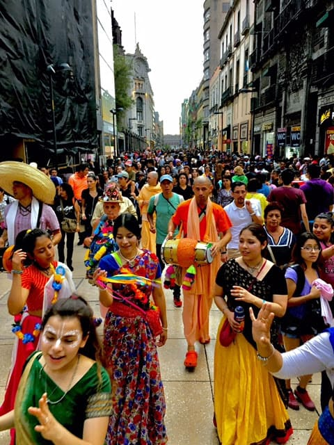 Hare Krishna Performers on Madero Street, Mexico City.