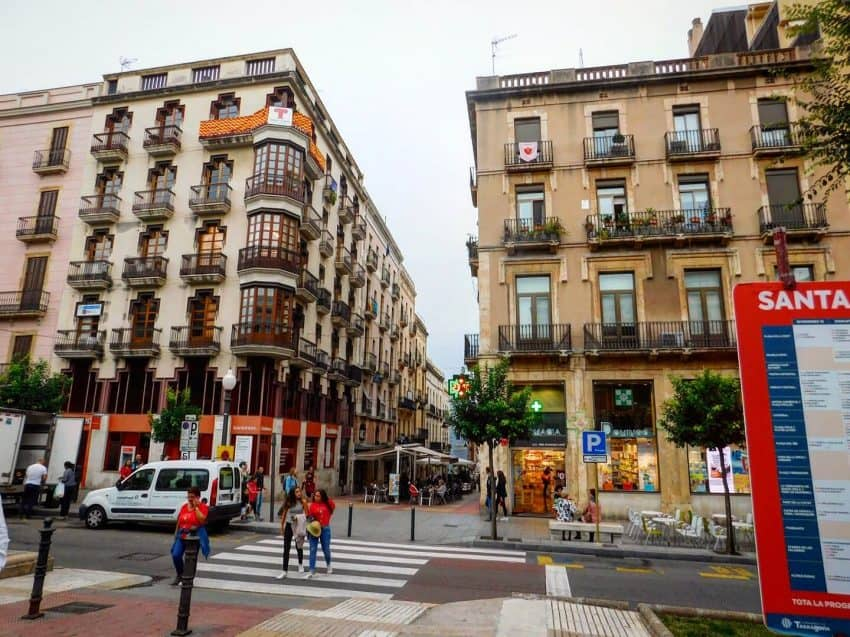 A common sight from La Rambla Nova, where many of the cities monuments and statues are located.