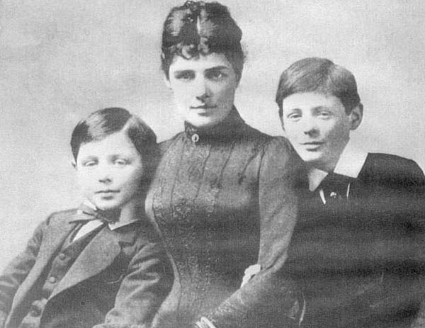 Jennie Churchill and her two sons, John and Winston, at Blenheim Palace, 1889.