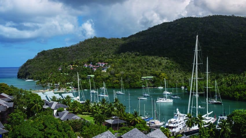 Boats in peaceful Marigot Bay, St Lucia. Janis Turk photos.