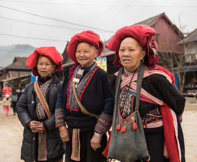 The Ta Phin village is home to the Red Dao tribe, very colorful with their red headdresses and embroidered clothing.