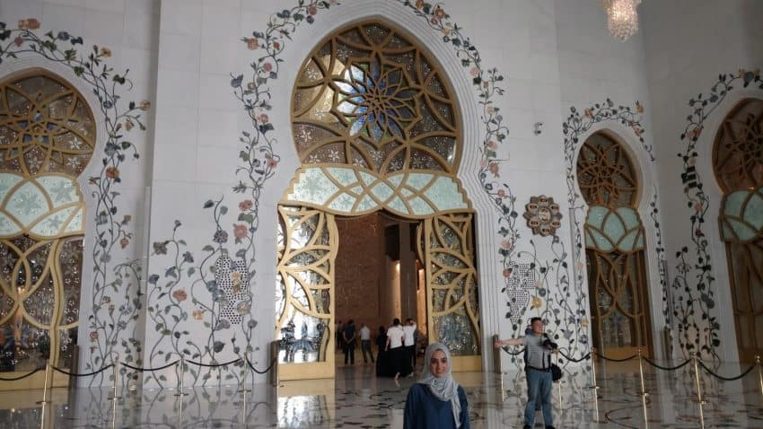 Stone decorations along the walls and floor of Sheikh Zayed Grand Mosque in Abu Dhabi