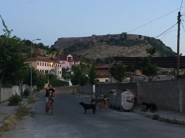 The hilltop Rozafa Castle stands in sharp contrast to the unpolished outskirts of Shkodër below
