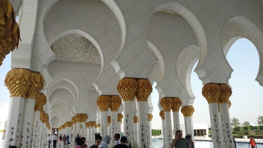 An exterior hall of Sheikh Zayed Grand Mosque in Abu Dhabi