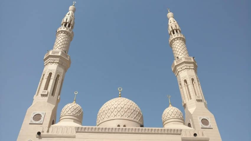 Minarets and domes of Jumeirah Mosque in Dubai.