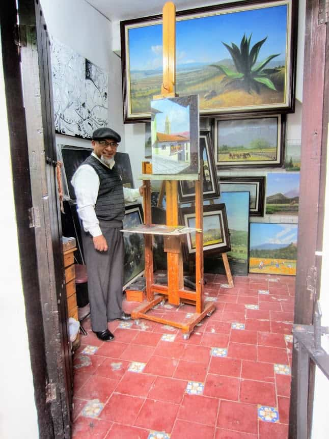 Artist in his studio on 'Barrio Del Artista' (Artists' Street) - Puebla, Mexico