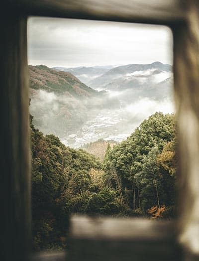 Overlooking mist and mountains from Asuke Castle, which dates back to ancient Central Japan