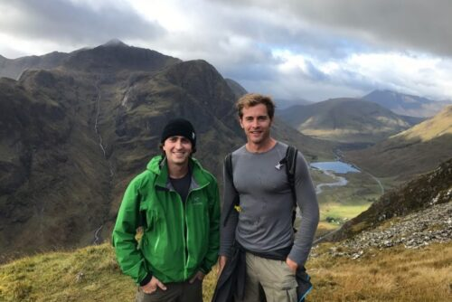 Me (right) and my friend (left) climbing Meal Dearg to begin the walk