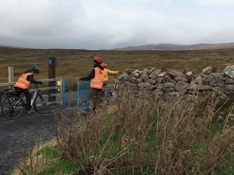 Riding the Great Western Greenway from Westport, Ireland, along the coast.