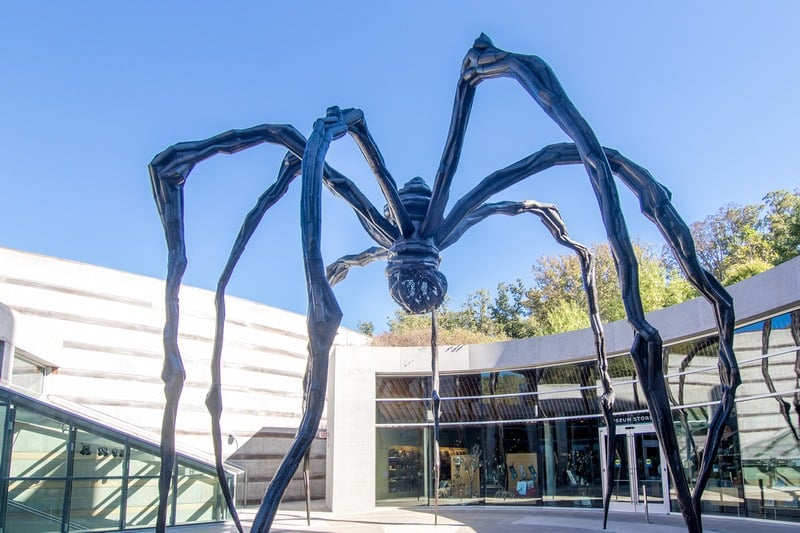 "The main entrance is next to a large and captivating spider entitled ""Maman"", by Louise Bourgeois, 1999."