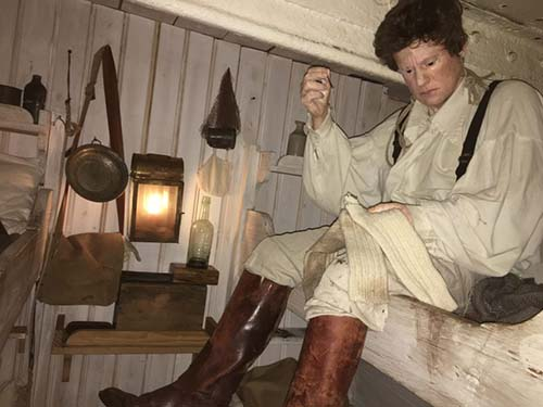 Inside the vast ship, which for decades was the longest ship afloat, mannequins depict what life was like on board.