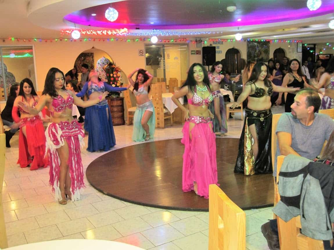 Mexican girls performing a dance routine