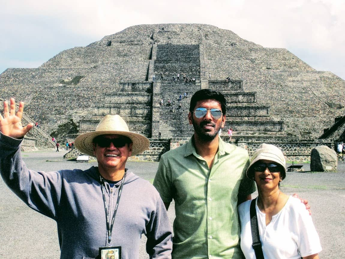 Our tour guide Jorge Mendoza with Arjun and Nirmala in Teotihuacan