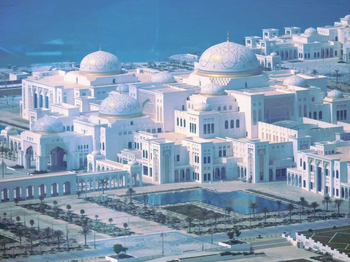 The regal Presidential Palace, seat of the government in Abu Dhabi.