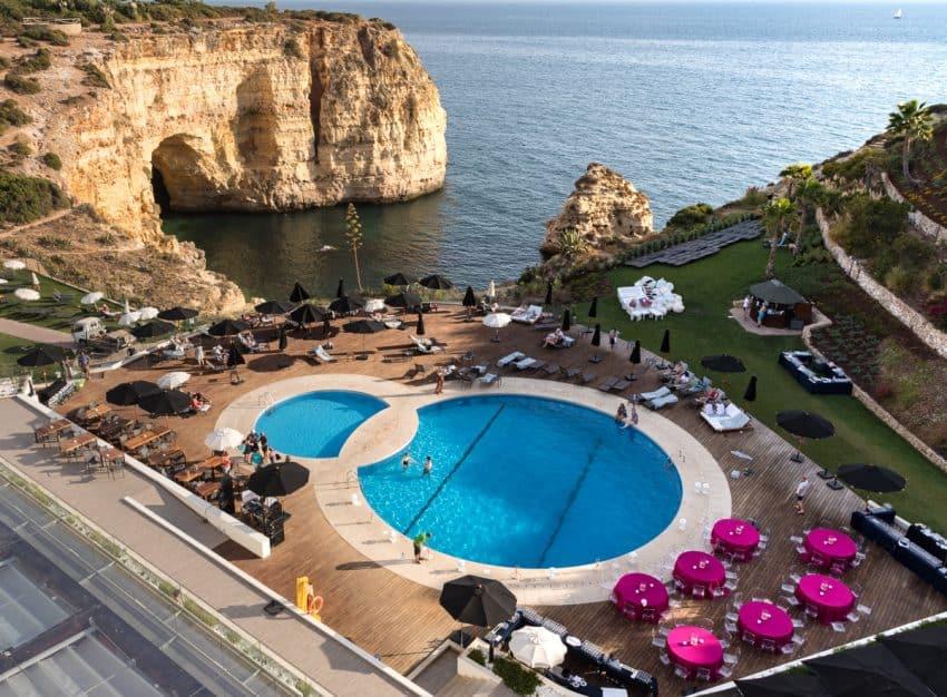 The dramatic view of the Atlantic in the back of the Tivoli Carvoeiro Algarve resort.