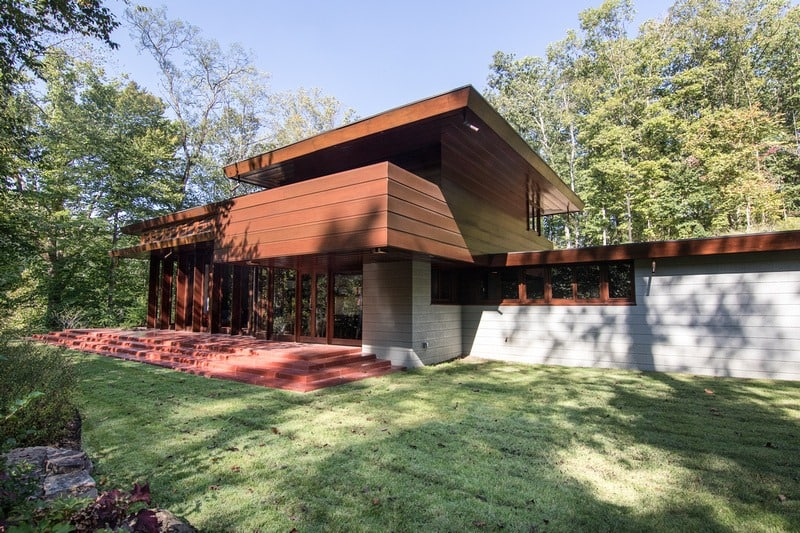 The Bachman-Wilson House built by Frank Lloyd Wright in 1954. Dismantled and reassembled in 2015.