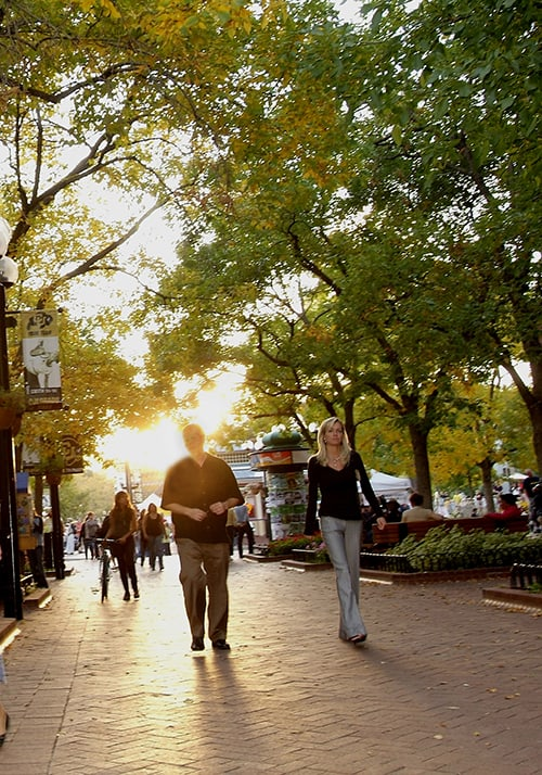 Walking the Pearl Street Mall in Boulder.