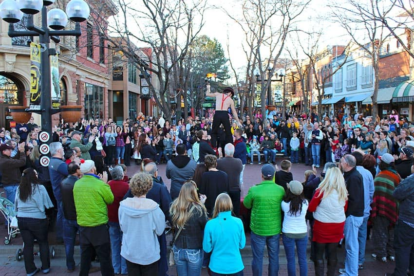The heart of Boulder is the Pearl Street Mall, a pedestrian-only shopping area. Downtown Boulder Partnership photos.