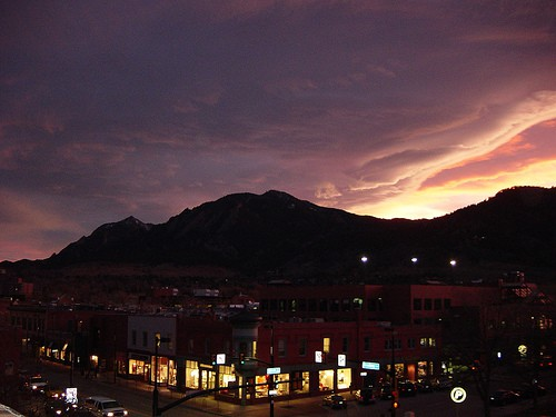View from the Hotel Boulderado overlooking Broadway & Spruce in Downtown Boulder.