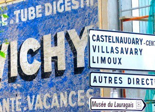 Road signs in Languedoc, France.