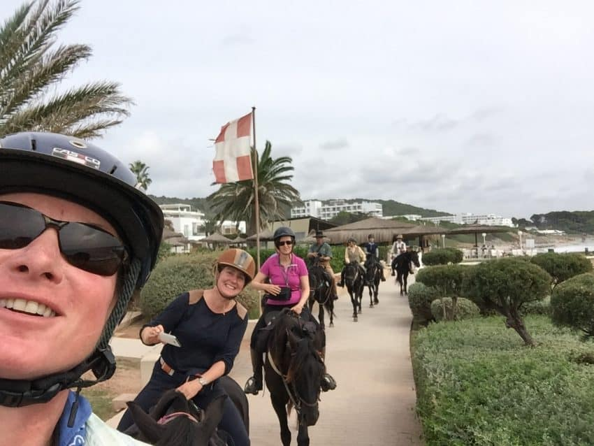 A fun selfie I took of our conga line as we headed to Es Brucs for lunch and received many stares from curious beach-goers. Leonor Maroutian and Sophie Pascaud, both from Paris, France, are behind me.
