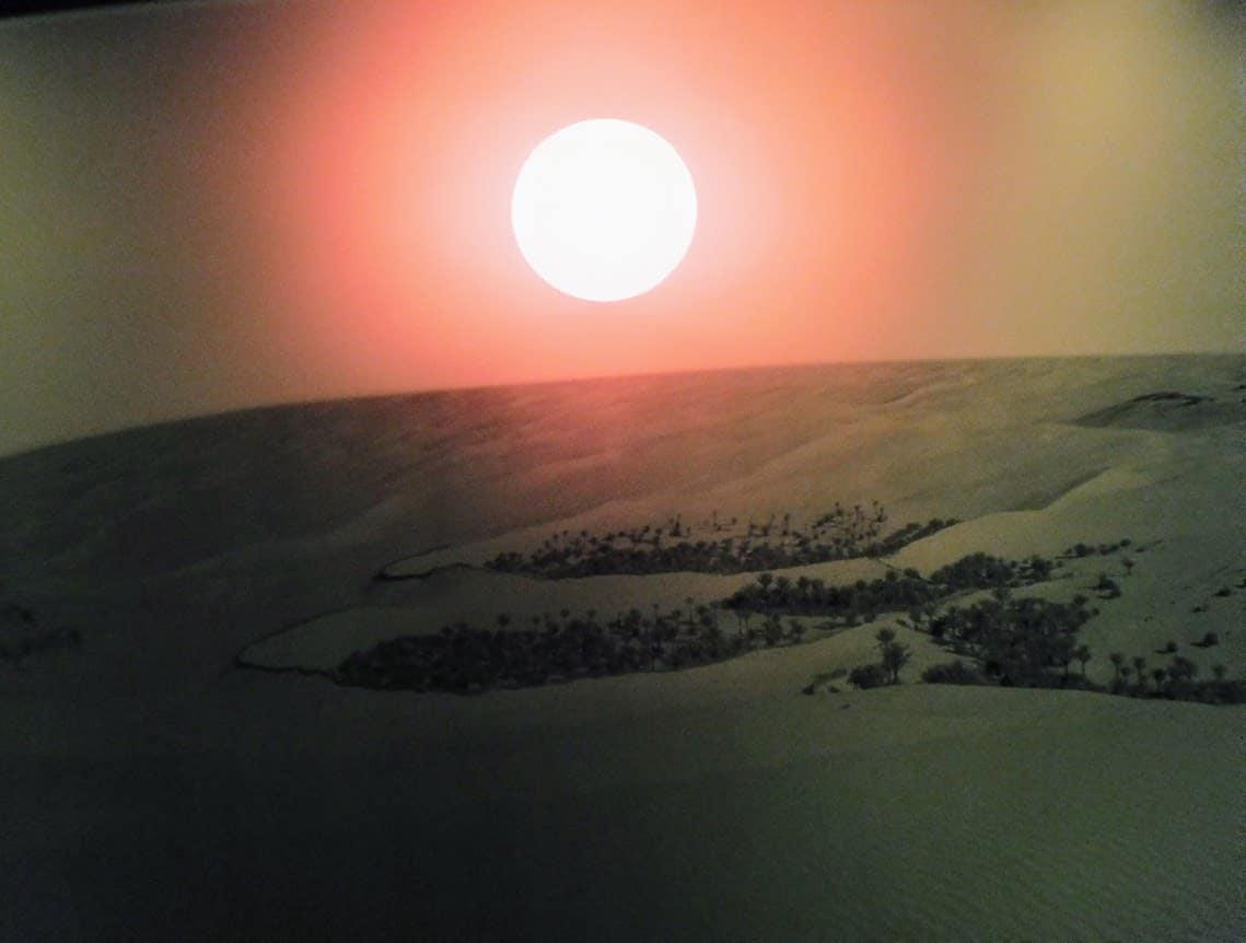 Sunset over the desert in Abu Dhabi.