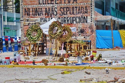 Wreaths in memory of 21 schoolgirls who died in the earthquake - Mexico City
