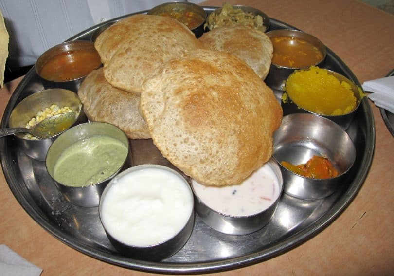 A typical vegetarian thali dish.