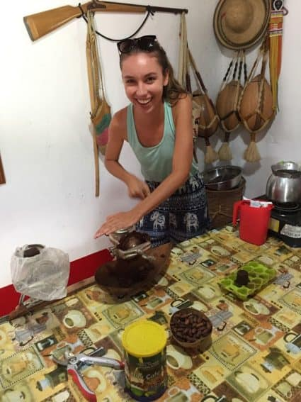 Ariel making some chocolate at Candelaria Coffee Farm.