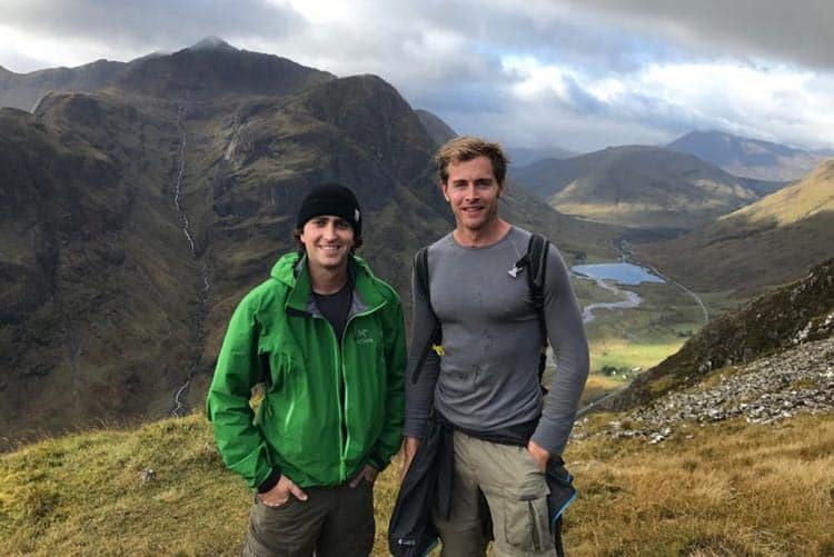 Me (right) and my friend (left) climbing Meal Dearg to begin the walk.