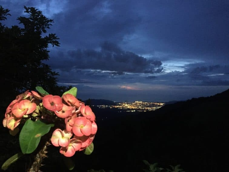 Nightime view of Santa Marta from the Candelaria Coffee Farm.