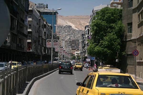 Driving in Damascus, Syria.