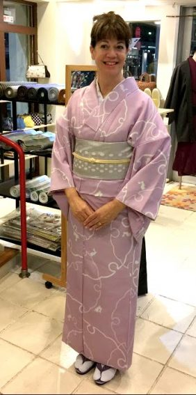 The author ready to show off a kimono downtown.