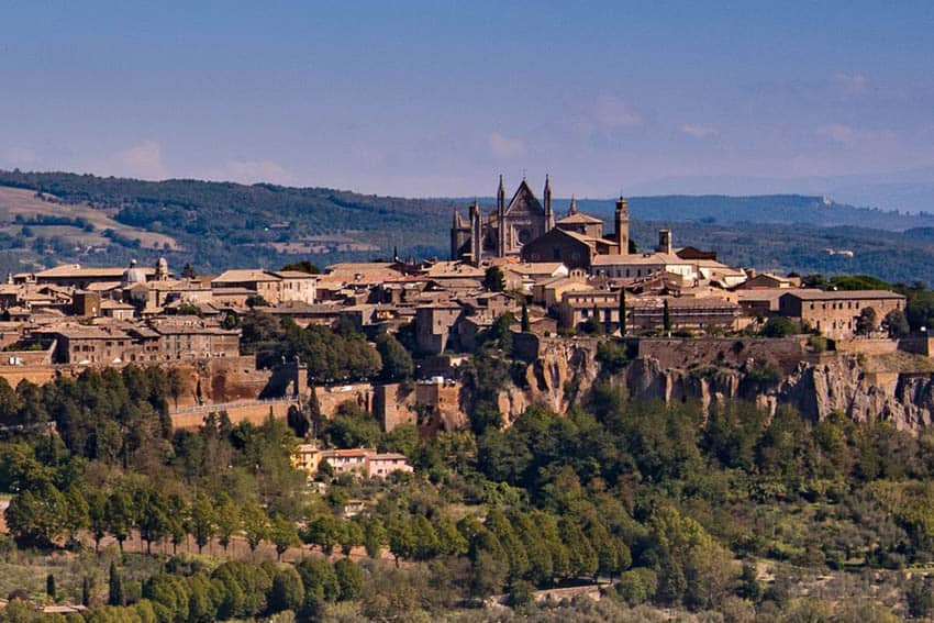 One of Umbria's gems is the walled city of Orvieto, nestled atop the summit of volcanic rock known as tufa. The valley floor is laden with olive trees and vineyards. Donnie Sexton photos.