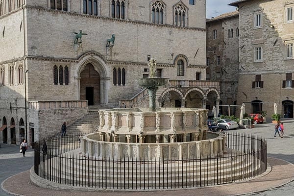 Umbria's biggest festivals, the Umbria Jazz Festival (July), and the Eurochocolate Festival (October), take place in the main square of Perugia, marked by the historic Fontana Maggiore.