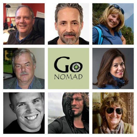 GoNOMAD's Top Travel Writers: from top left: Max Hartshorne, Paul Shoul, Sonja Stark, Stephen Hartshorne, Cathie Arquilla, Andy Castillo, Christopher Ludgate, Donnie Sexton.