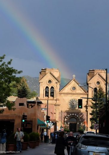Rainbow over Cathedral Basilica St Francis of Assisi