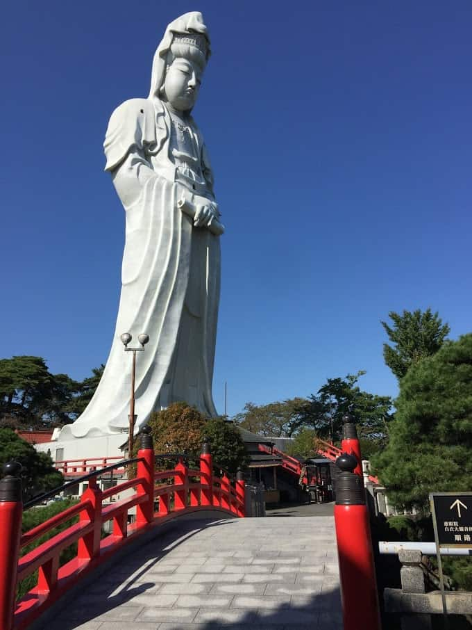 The Kannon, Buddha watchful over Takasaki City, Japan.